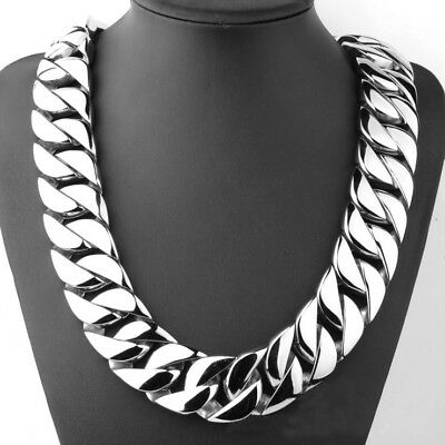 Top 316L stainless steel curb 24mm width solid heavy long chain necklace jewelry