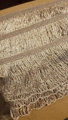 Metallic Silver Stretch Looped Fringe 70mm quality BNWOT price is per meter 59