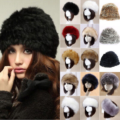 Women Lady Russian Fluffy Faux Plush Fur Cloche Hat Headband Winter Earmuff Ski