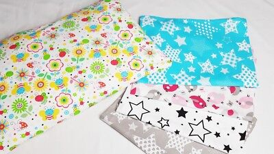 PILLOW CASE 100 % COTTON COVER 40x60 cm for COT JUNIOR BED SINGLE PATTERN STARS