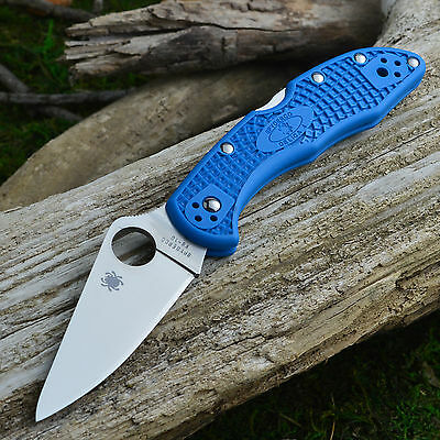 Spyderco Delica 4 Blue Flat Ground VG-10 Knife C11FPBL