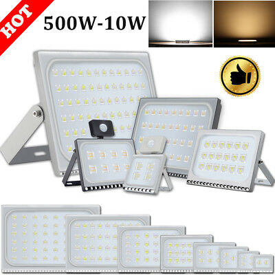 Slim 500W PIR LED Floodlight SMD Outdoor Waterproof IP67 Security Warm/Cool Lamp