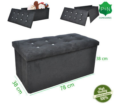 Large Black Suede Ottoman Storage Box with Diamond Buttons UK NEXT DAY DELIVERY