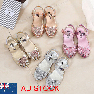 Kid Girl Ballet Shoes Ankle Strap Flat Sequins Sandals Party Dress Princess Shoe