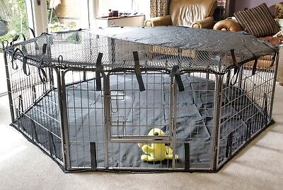 Pet Pen Cover Sun Shade Play Dog Cage Crate Run Fitted Heavy Duty X Large 8 Side
