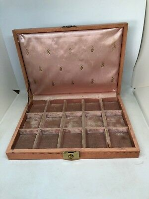 Vintage Mele Pink Jewelry Box Velvet Sateen Lined