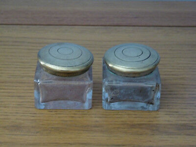 2 Victorian Screw Top Ink Wells Slightly Larger Size.