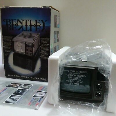 "Vintage Bentley 5"" Deluxe Black & White Television TV Portable New in Box 100A"