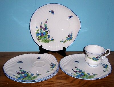 """Crown Staffordshire Gainsborough 1 Cup And 4 Snack Plates 8.5"""""""
