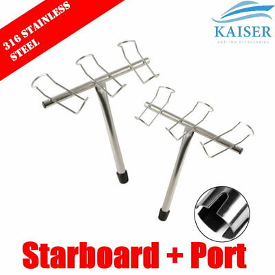 3-Way Fishing Rod Holder Left/Right Pair Stainless Steel 316