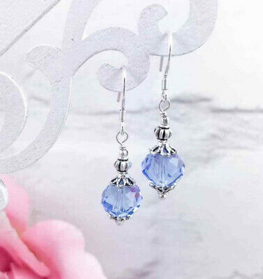Silver Sapphire Blue Glass Earrings, Drop Dangle Hook, Czech Victorian Style