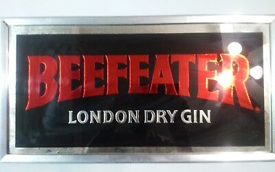Vintage Beef Eater London Dry Gin Whiskey Bar Mirror Beer Sign