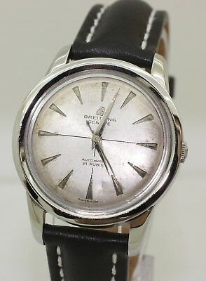 Rare Vintage 35mm Mens Steel 1950's Breitling Model 25 - 2509 - 25 - Automatic