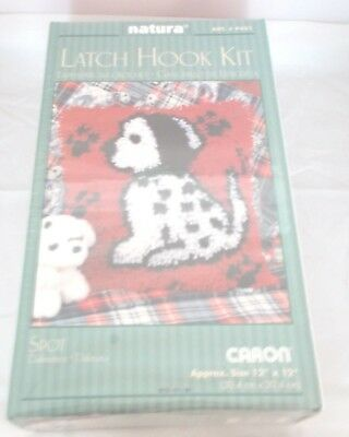 "NATURA CARON LATCH HOOK KIT RUG KIT'SPOT - DALMATIAN 12"" x 12"" NEW SEALED"