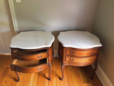 Pair of Antique French Restoration Double Drawer Marble End Tables Natural Wood