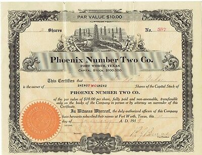 Original 1919 Phoenix Number Two Company Stock Certificate 2 Shares Ft Worth TX