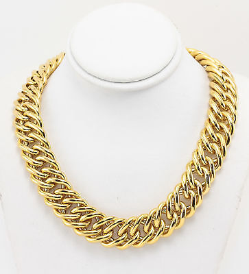 18K Italian Chain Link Yellow Gold Necklace