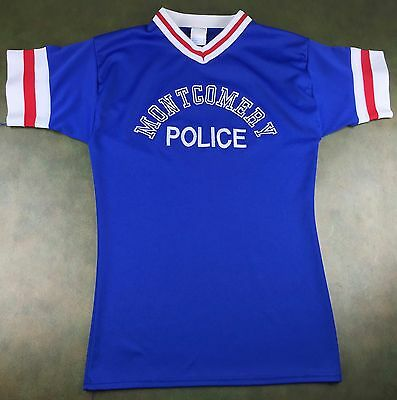 Vintage Mens M 60s 70s Montgomery Police Officer Sports Team Blue Ringer Jersey