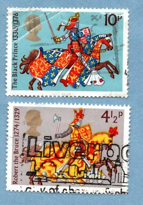 GB/UK stamps 1974 Medieval Warriors SG958/61 (2 stamps)