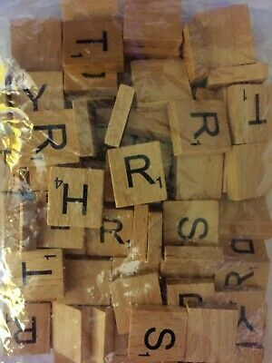 50 Scrabble Wooden Individual Tiles Letters Number For Crafts Alphabet Game Wood