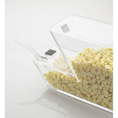 Ice Cream Toppings Bulk Bin - Acrylic with Magnetic Notched Lid for Spoon