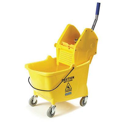 Carlisle 3690504 26-35 Qt. Mop Bucket w/Down-Press Wringer, 4 Casters
