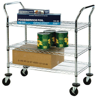 "Kitchen Utility Cart 24""W, 2 Shelves, Chrome Plated"