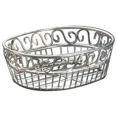 Stainless Steel, Round Bread Basket with Scroll Design