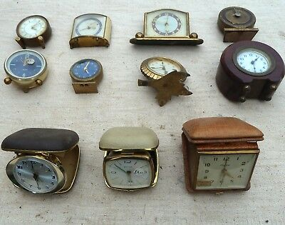 Job Lot Of Vintage Travel & Miniature Alarm Clocks.