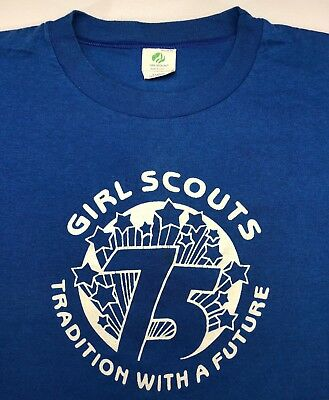 Vintage Mens XL 1987 80s Girl Scouts 75th Anniversary Blue Cookies T-Shirt