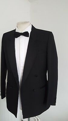 Very Smart Black Tuxedo Dinner Jacket Only Double Breasted Size 38 Reg