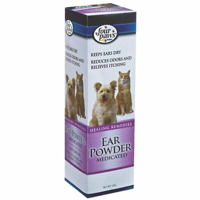 Four Paws Medicated Pet Ear Powder 24g Reduces Odor & Relieves Itching Dog & Cat