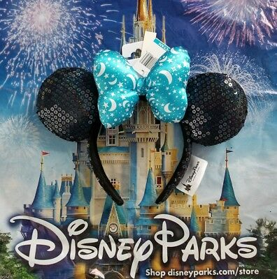 NWT Disney Parks Disney 2017 Minnie Mouse Ears Bow Sequin Headband Ears