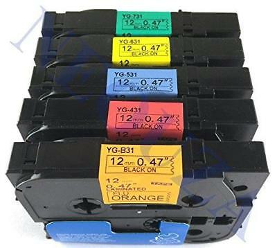 5PK Compatible For Brother P-Touch Laminated TZe Label Tape TZB31 TZ431 TZ531