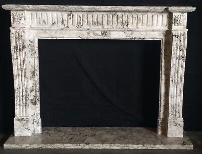 HAND CARVED ENGLISH MANTEL with White and Gray Marble - STUNNING MARBLE!!!!!!!!