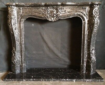 "Black Marble FRENCH MANTEL - 67""h x 52""w Mantle – DEEP DETAILED CARVING"