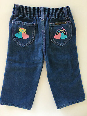 Vintage 1980's Kids Girls High Waist Denim Jeans w/ Teddy Bear Hearts Rainbow 2T