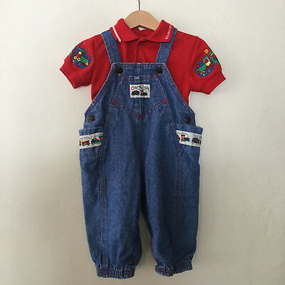 Vintage Baby Boys OshKosh Train Overalls & Top 2 Piece Set 12 Months