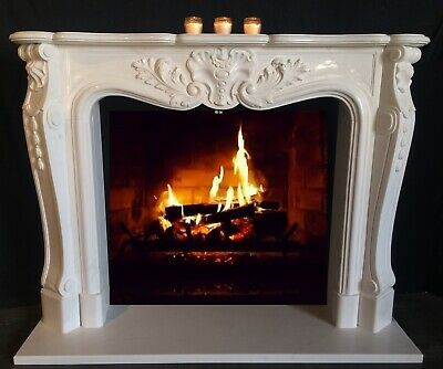 "EXOTIC MARBLE French MANTEL White and Black Marble 67"" Mantle – HAND CARVED"