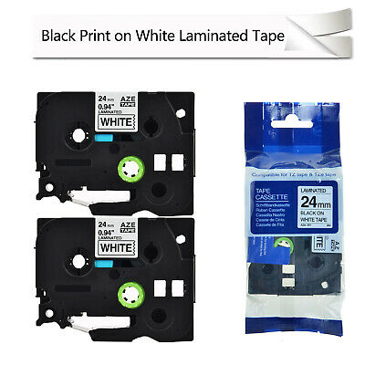 """2PK Black on White Label Tape TZe251 TZ251 For Brother P-Touch PT-2500PC 24mm 1"""""""