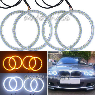 For BMW E46 3 Series 2D Coupe Headlight White Amber SMD LED Angel Eye Halo Rings