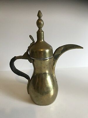c.19th - Antique Islamic Persian Ottoman Brass  Dallah Coffee Pot