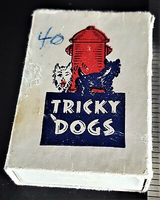 Vintage TRICKY DOGS Magnetic BLACK & WHITE SCOTTY DOGS NOVELTY TOY Orig Box