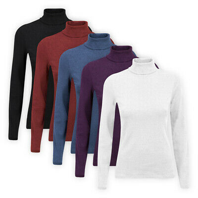 Ladies Womens Long Sleeve High Roll Neck Top Assorted Colours Cotton-Rich Jumper