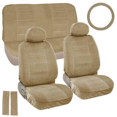 Vintage Soft & Thick Seat Covers w/ Steering Wheel Cover & Seat-Belt Pads - 9pc