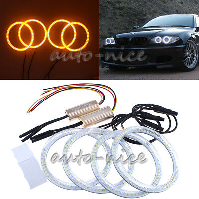 4X106 SMD LED Angel Eye Halo Ring Light For BMW E46 3 Series 2D Coupe Daul Color