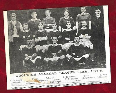 reproduction 1905/6 Woolwich Arsenal FC team picture