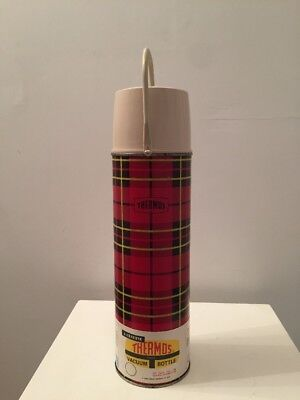 VINTAGE 1964 KING SEELEY METAL THERMOS QUART RED PLAID Bottle