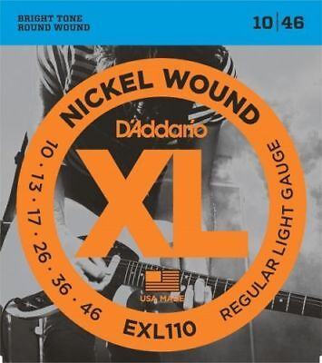D'Addario EXL110 Electric Guitar Strings. Regular Light Gauge 10-13-17-26-36-46