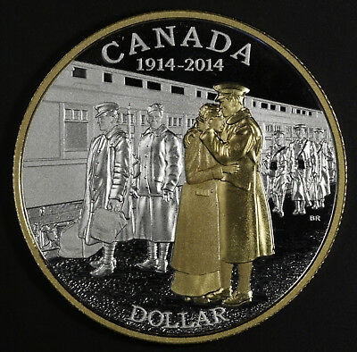 2014 Canada Anniversary of World War I Proof Gold Plated Silver Dollar